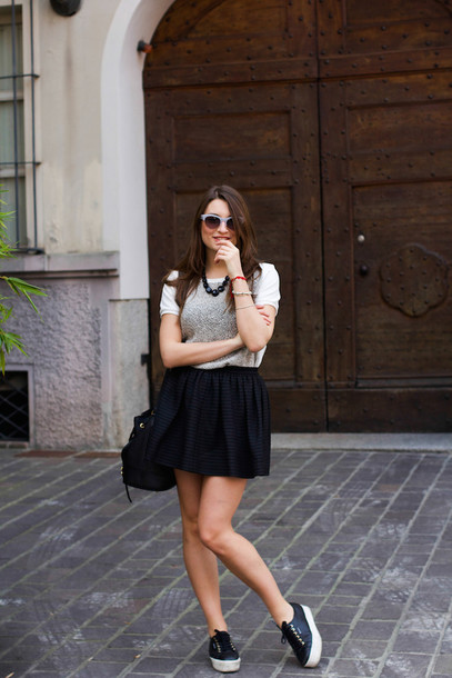 style and trouble bag shoes sunglasses t-shirt skirt