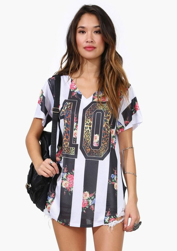 shirt floral jersey stripped top floral jersey t-shirt
