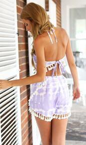 romper,print,tie dye,lilac,bikiniluxe