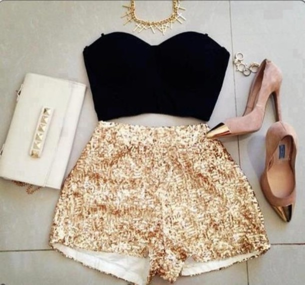 Glitter Shorts - Pbv Shorts Sequins Gold Sequins Gold High Waisted Short Sequin Shorts Black High Heels Studded Clutch White Cross Necklace Jewels Shoes Corset Tank Nail Polish Haute Rebellious Crop To
