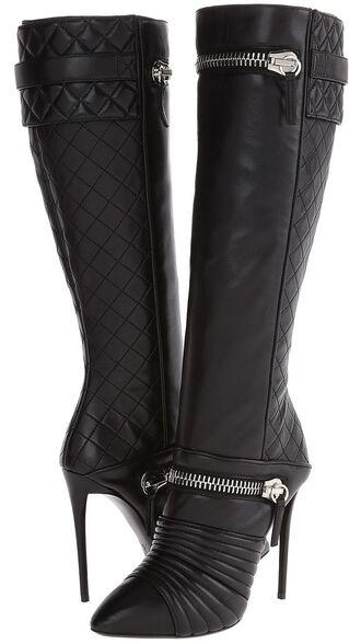 shoes paris fashion style boots zipper knee high