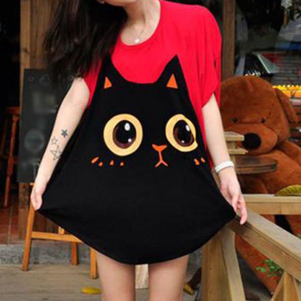 t-shirt shirt cute dress cute girly coachella hipster hippie cat eye cartoon red black
