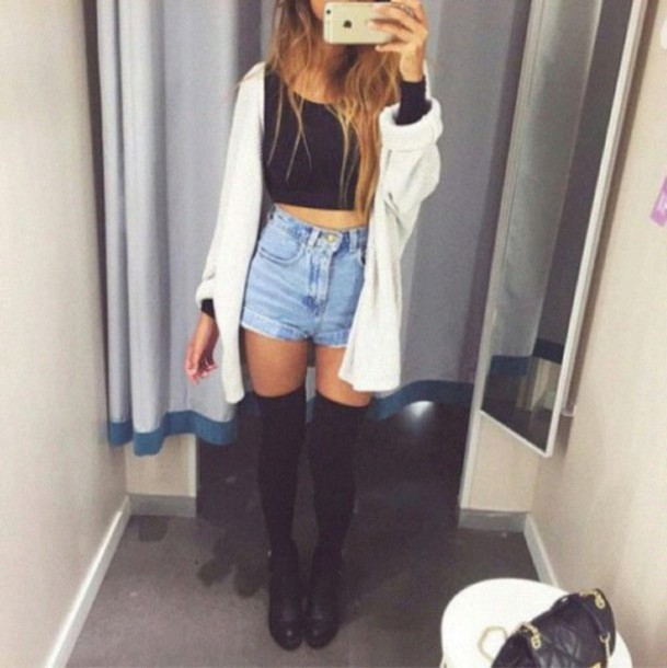 cardigan shorts High waisted shorts jeans knee high socks black t-shirt black shoes warm girl girly