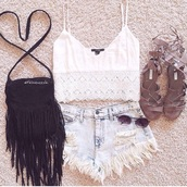 top,shirt top white cropped top,lace crop top,white top,bag,sunglasses,shorts,shoes