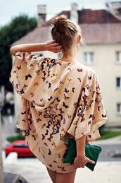 blouse,butterfly,bat wings,t-shirt,tunic,hat,jacket,kimono,floral kimono,cream,cardigan,cute,dress,top,boho,kimono jacket,shirt