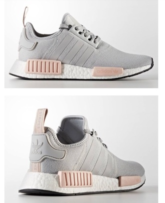 shoes adidas adidas nmd adidas nmd r1 pink grey pink sneakers model wanted