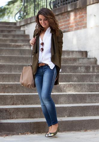 lovely pepa blogger jacket jeans bag sunglasses ballet flats studs khaki