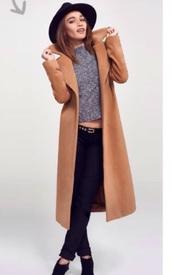 coat,tan camel long coat