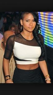 blouse,sheer sleeve,mesh,black and white,crop tops,cassie ventura