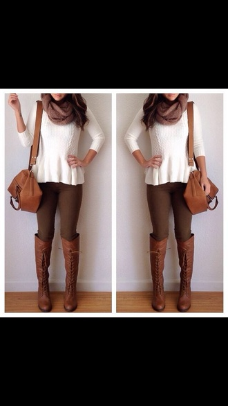 shoes brown boots lace up brown jeans white top bag brown leather boots blouse leggings scarf