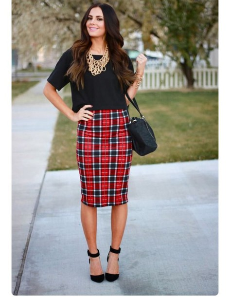 Skirt: red skirt, plaid skirt, plaid, red, pencil skirt, knee ...