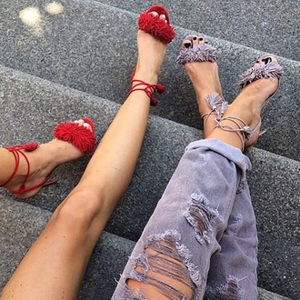 shoes flats with fur red colourr