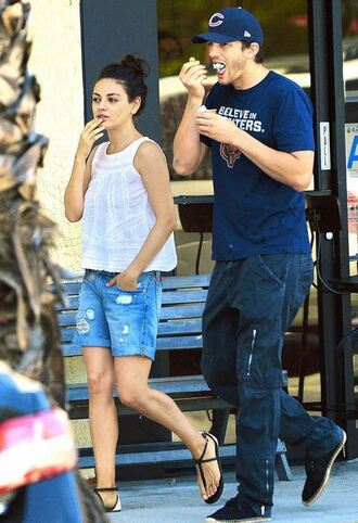 top shorts sandals mila kunis blouse summer outfits