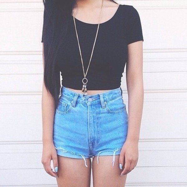 shorts jewels High waisted shorts ripped shorts top t-shirt