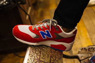 shoes red white new balance black jeans blue nb