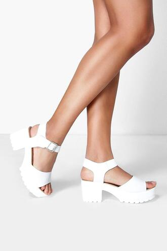 shoes white sandals boohoo sandals cleated sandals peep toe sandals