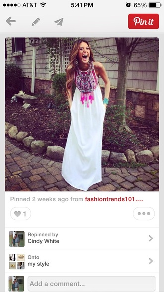 dress white maxi dress white with aztec print