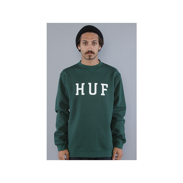 HUF SF:The F11 National Crewneck Sweatshirt in Forest, Sweatshirts for Men
