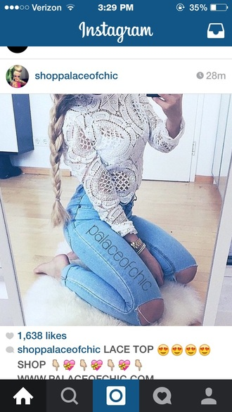 blouse lace jeans ripped