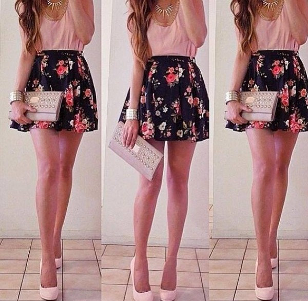 skirt flowers pink black cute summer outfit blouse