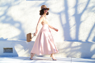 ktr style blogger tank top bag circle skirt baby pink pink skirt fedora