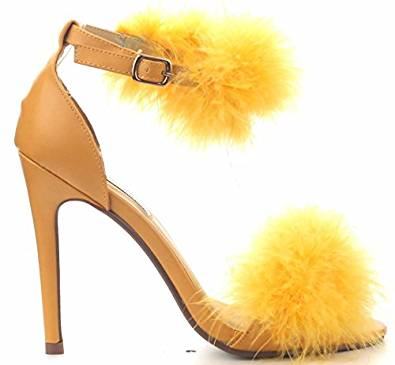 Amazon.com | CR Drew-6 Stiletto Heel Ankle Strap Fuzzy Fur Open Toe Sandal Pump Shoes Yellow | Sandals