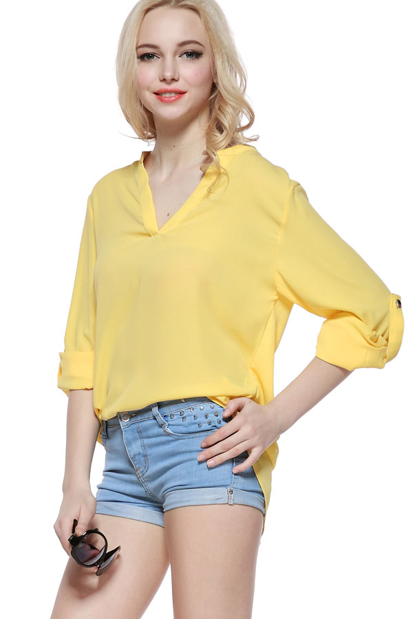 Yellow V Neck Long Sleeve Casual Top