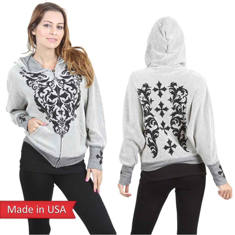 Vocal cross print studs french terry dolman sleeve outerwear jacket hoodie us l