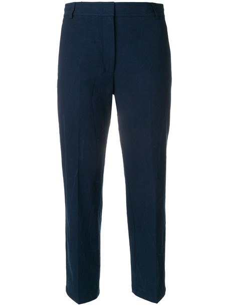 cropped women cotton blue pants