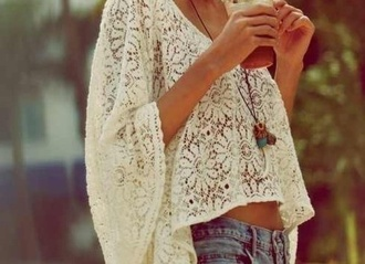 shirt summer lace flowers flowy lace flowy top tumblr tumblr girl perfect gorgeous beautiful white owl necklace circle top white circle top