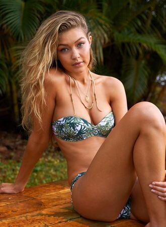 swimwear bikini bikini bottoms bikini top gigi hadid summer tropical bandeau bikini