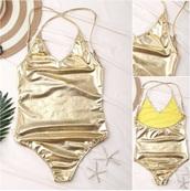 swimwear,gold,metallic,metallic swimsuit,sexy,summer