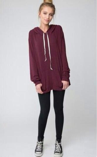 jacket burgundy hoodie leggings
