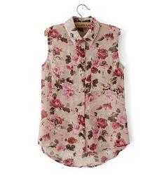 Online shop women's red rose flower print lapel sleeveless shirt chiffon tops blouse s m l