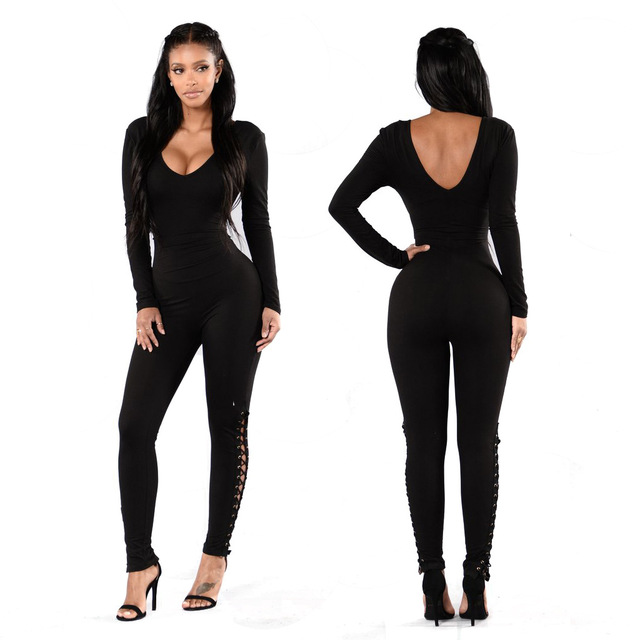 com : Buy Bandage Jumpsuit, Long Sleeve Solid Black Bodycon Lace ...