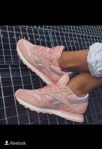 shoes sneakers pink reebok grey pink sneakers