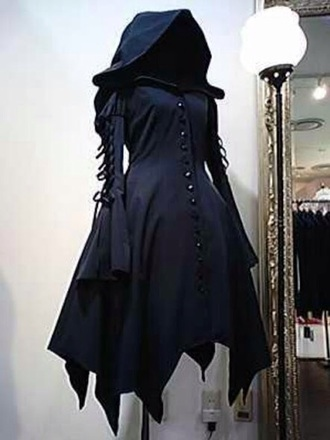 cloak hood hooded cloak goth dark top jacket halloween costume