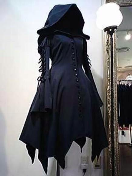 jacket hood top goth cloak hooded cloak dark halloween costume