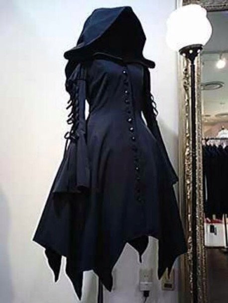 Dress: cloak, hood, hooded cloak, goth, goth, dark, jacket ...