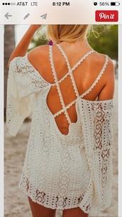dress,hippie,lace dress,summer dress,off the shoulder dress,summer outfits,braided strap,white dress,crochet,bohemian dress,crochet dress,flowy dress,white,beach dress,lace,open back,summer,spring,beach