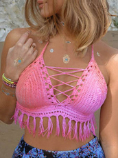 top,Choies,pink,strappy-tie-back-tassel-crochet,bralette-crop