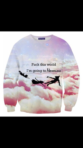 sweater neverland blouse fuck#this#world disney sweater peter pan jumper style cosy sweaters fashion shirt