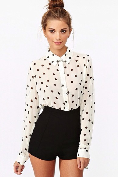 blouse black and white blouse polka dot blouse