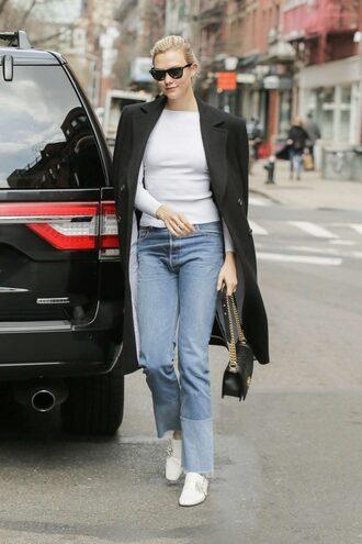 shoes karlie kloss model off-duty jeans denim top white top