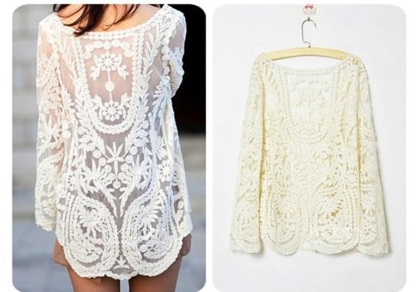 shirt lace shirt vintage blouse indie lace blouse