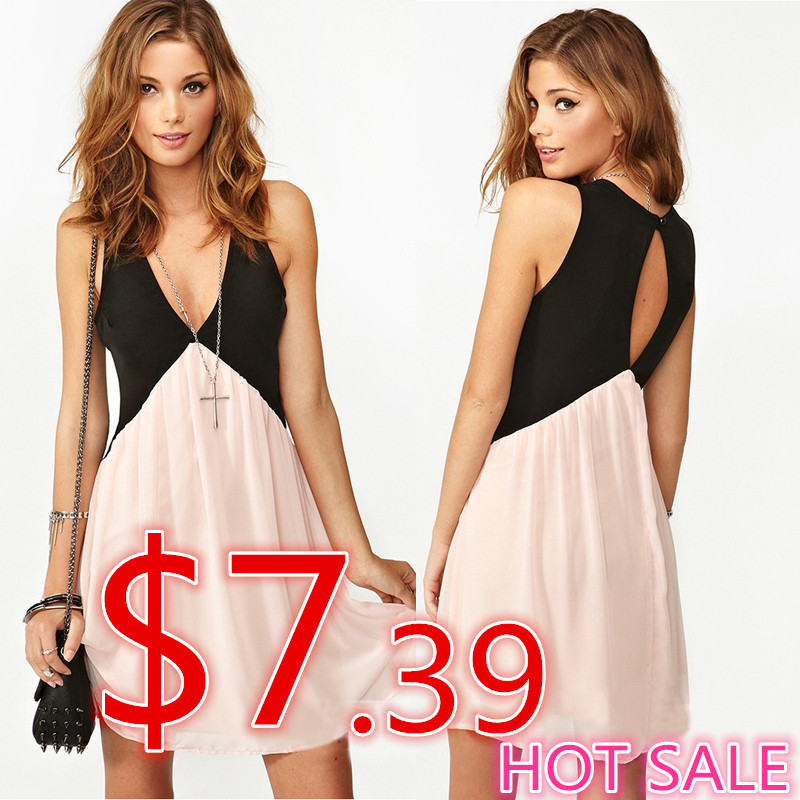 2014 spring dress ,summer and autumn women dress Sexy Deep V neck Stitching Back Hollow Chiffon Vest Dress Sleeveless-in Dresses from Apparel & Accessories on Aliexpress.com