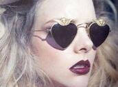 sunglasses,sunglasess,black,gold,fashion,vintage,heart,heart sunglasses,heart shaped,make-up,aviator sunglasses,heart rock