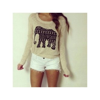 sweater elephant black nude shorts white cozy beige cream sweater white shorts has a big elephant on the front big elephant blouse beige sweater