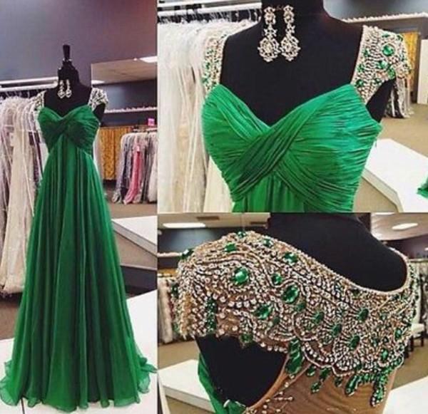 dress green dress prom dress gown green prom dress