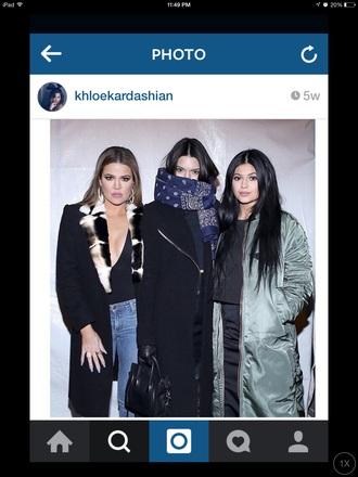 scarf kendall jenner bandana blue scarf